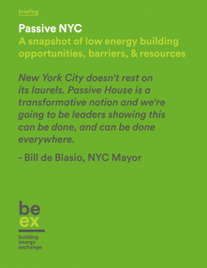 Passive New York City: A Snapshot of Low Energy Building Opportunities, Barriers, & Resources